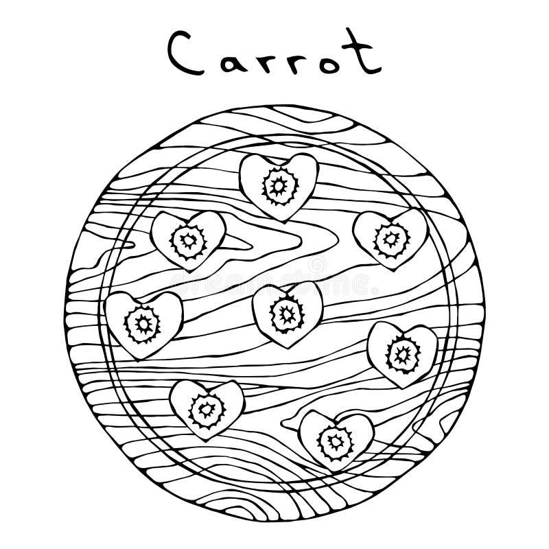 Zanahorias anaranjadas frescas en un tablero de madera del corte y rebanadas de la forma del corazón Vehículos maduros cocina veg libre illustration