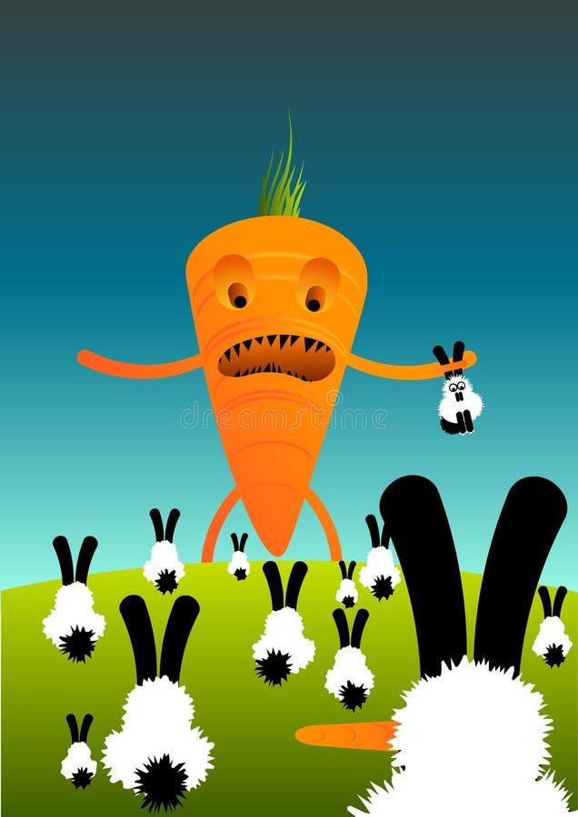 Zanahorias contra conejos ilustración del vector
