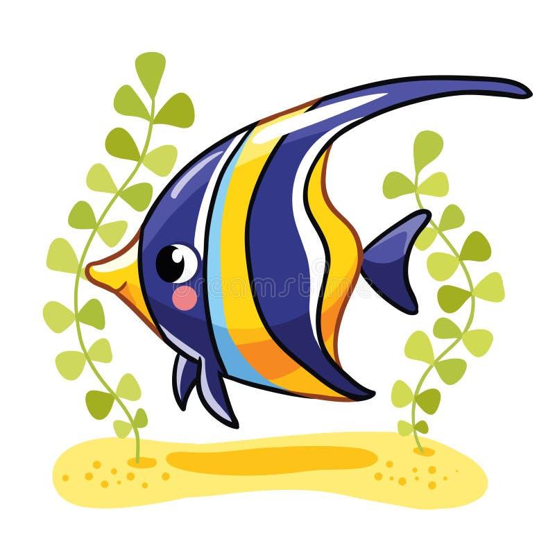 Zanclus mignon de poissons dans l'illustration illustration stock
