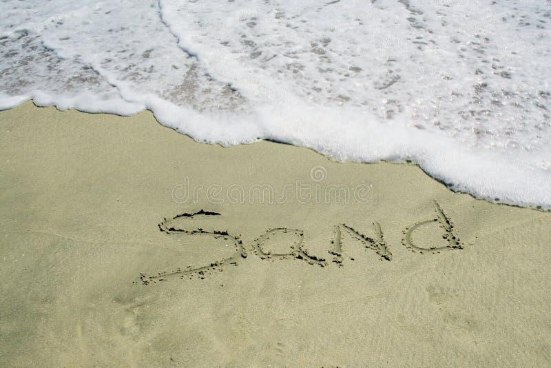 Zand dat op strand wordt geschreven stock afbeeldingen