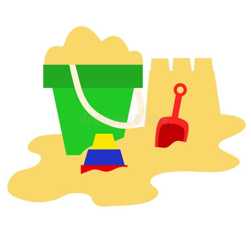 Zand, emmer, schop en speelgoed, het spelpictogrammen van het de zomerspel, vectoril royalty-vrije illustratie