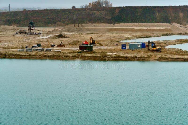 Zand, mijnbouw, bouw, draglines, graafwerktuigen, schrapers, baggermachine, bagger royalty-vrije stock afbeelding