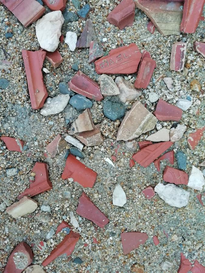 Zand, tegels en cement royalty-vrije stock foto's