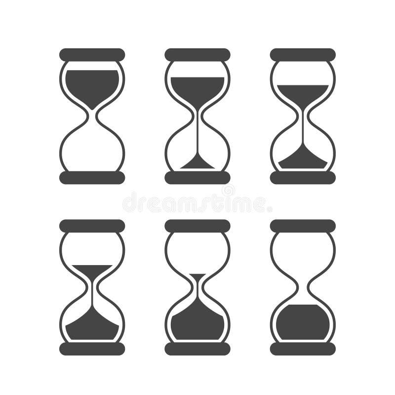 Zand van tijd, zandlopervector geïsoleerde symbolen Oude zandklok geanimeerde vectorpictogrammen stock illustratie