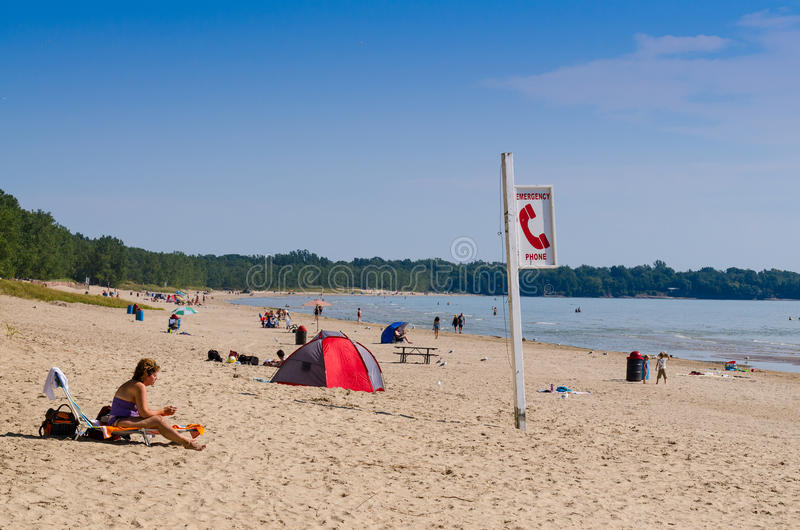 Zandbanken provinciaal park in Ontario stock foto's