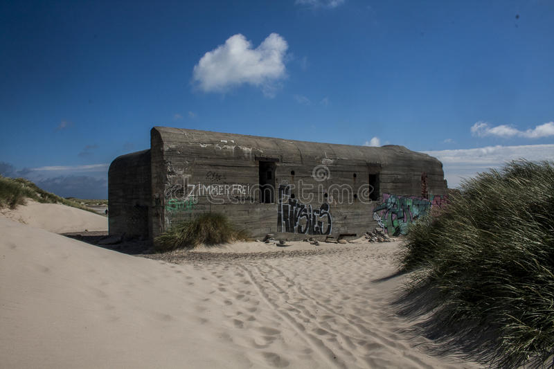 Zandbunker in Skagen royalty-vrije stock fotografie