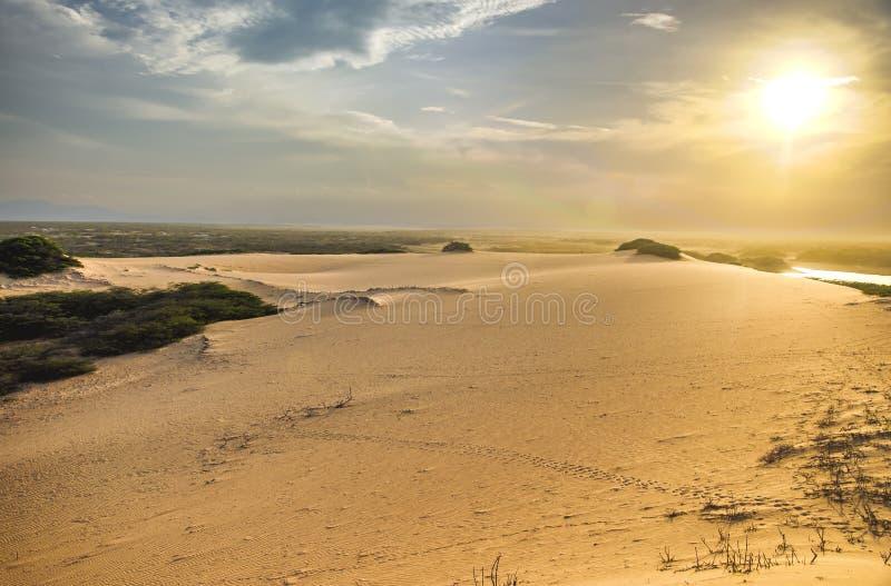 Zandduin en Zonlicht stock afbeeldingen