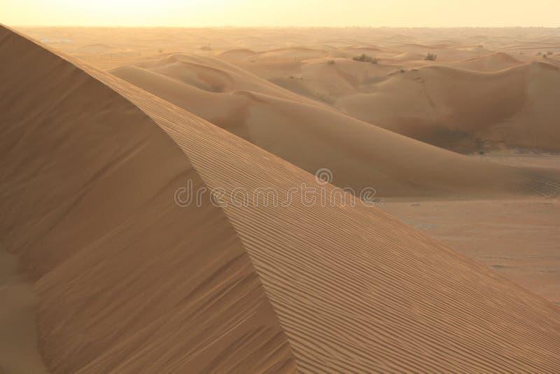 Zandduinen in al Khali van de woestijnoneffenheid royalty-vrije stock afbeelding
