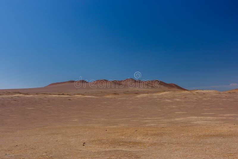 Zandduinen in de Paracas-Schiereilandreserve, Peru royalty-vrije stock foto's