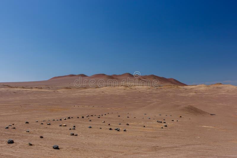 Zandduinen in de Paracas-Schiereilandreserve, Peru stock afbeelding