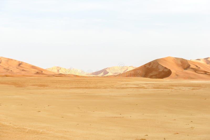 Zandduinen in de woestijn van Oman (Oman) royalty-vrije stock afbeeldingen