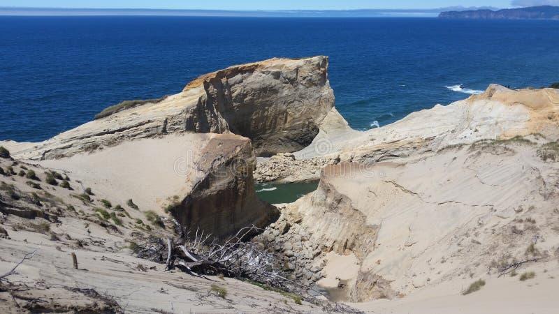 Zandduinen en oceaanmening stock fotografie
