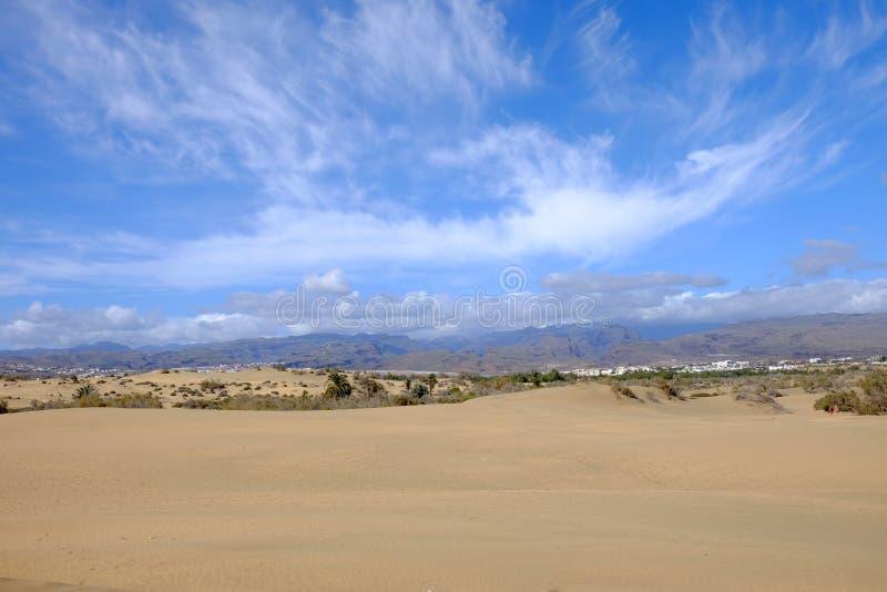 Zandduinen in Maspalomas en natuurlijk reservela Charca op Gran Canaria, Spanje stock fotografie
