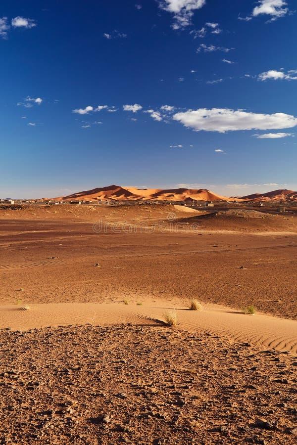 Zandduinen in Sahara Desert, Merzouga stock fotografie