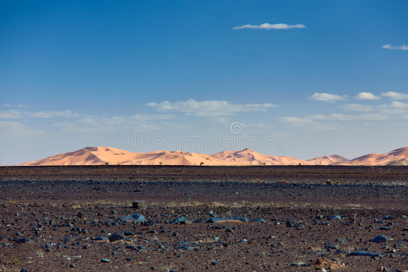 Zandduinen in Sahara Desert, Merzouga stock foto's