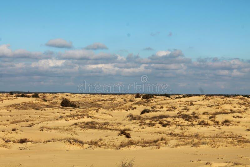 Zandduinen van de grootste woestijn van Europa ` s stock fotografie