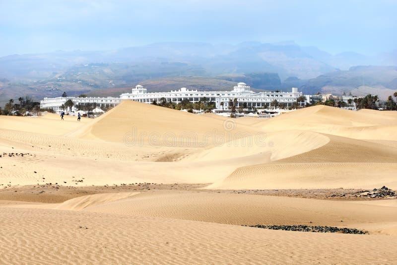 Zandduinen van maspalomas Gran Canaria Canarische Eilanden royalty-vrije stock fotografie