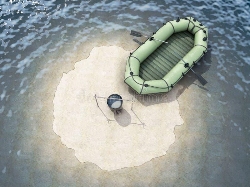 Zandeiland in de oceaan met een lege boot hoogste mening stock illustratie