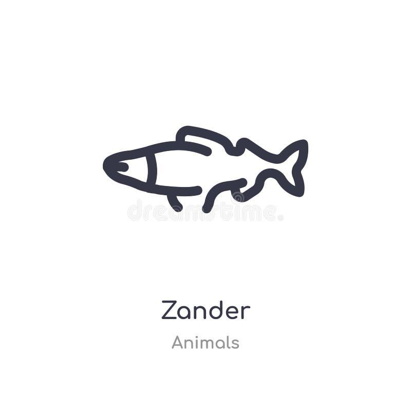 zander περιγράψτε το εικονίδιο απομονωμένη διανυσματική απεικόνιση γραμμών από τη συλλογή ζώων editable λεπτό εικονίδιο κτυπήματο διανυσματική απεικόνιση