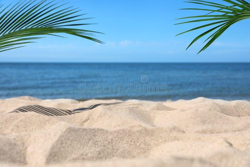 Zandig strand dichtbij overzees royalty-vrije stock afbeelding
