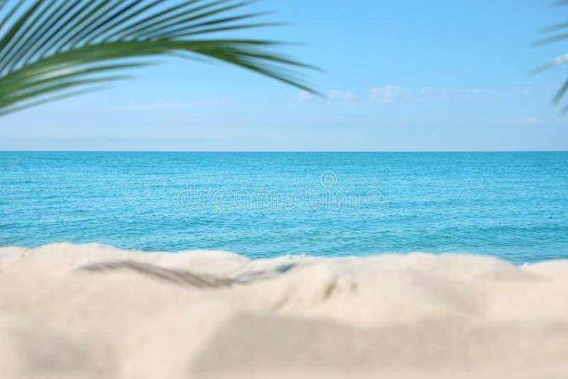 Zandig strand dichtbij overzees stock fotografie