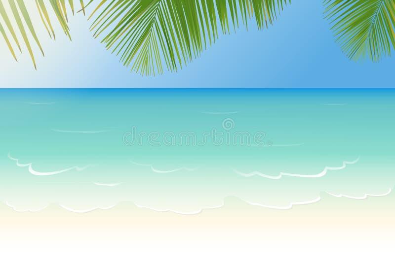 Zandig strand met glasheldere overzeese en palmbladeren royalty-vrije illustratie