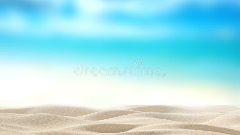 Zandig strand met onduidelijk beeldoverzees royalty-vrije stock afbeelding