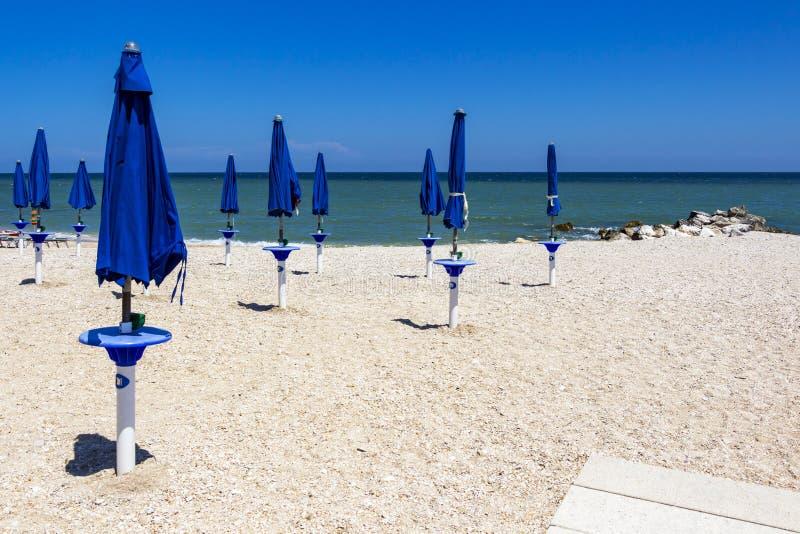 Zandig strand in Porto Recanati, Italië royalty-vrije stock foto
