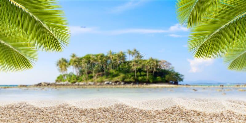 Zandig tropisch strand met palmbladenkader en klein eiland van royalty-vrije stock afbeelding