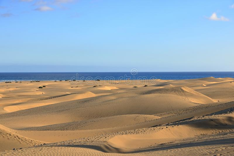 Zandige duinen in beroemd natuurlijk Maspalomas-strand Gran Canaria spanje royalty-vrije stock afbeelding