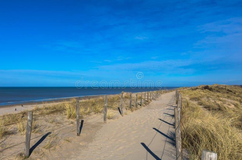 Zandige manier bovenop de duinen, die langs het strand leiden royalty-vrije stock fotografie
