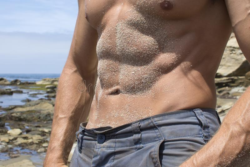 Zandige mannelijke abs bij strand stock foto