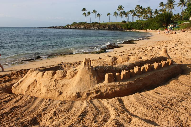 Zandkasteel - Baai Kapalua - Maui, Hawaï royalty-vrije stock afbeelding