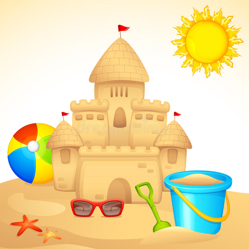 Zandkasteel met Uitrusting Sandpit stock illustratie