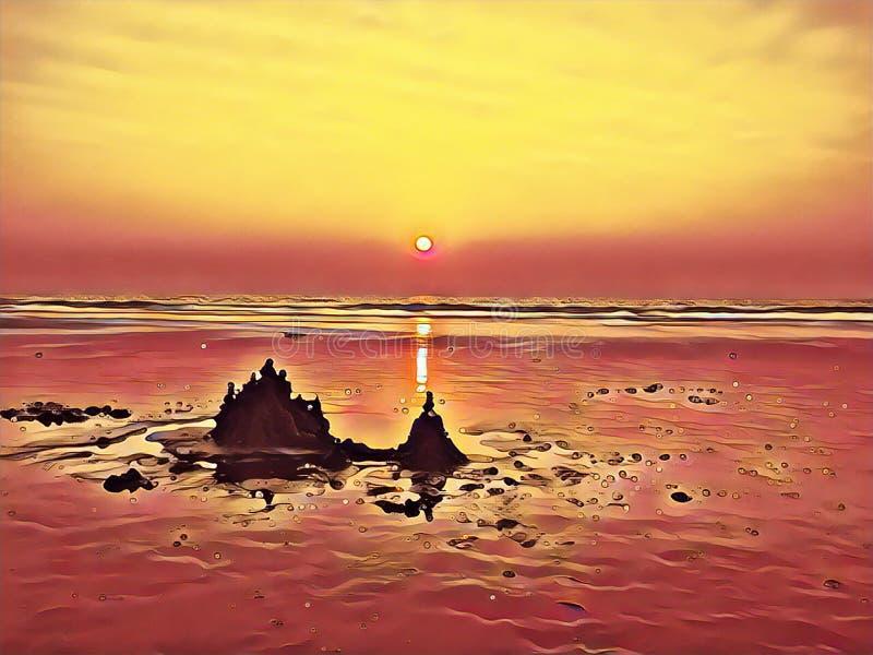 Zandkasteel op het strand op zonsondergang Kustscène in rode en gele kleuren royalty-vrije illustratie