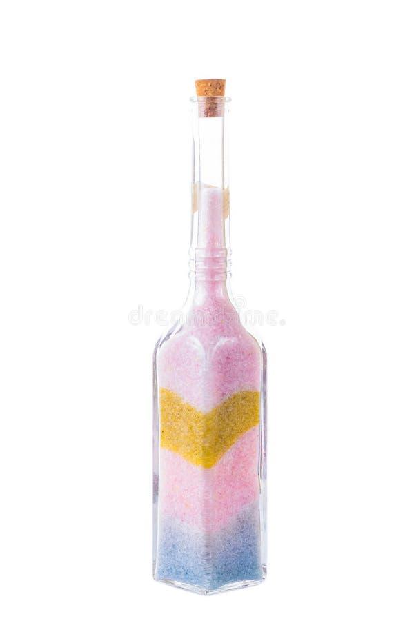 Zandkunst in een fles stock afbeelding