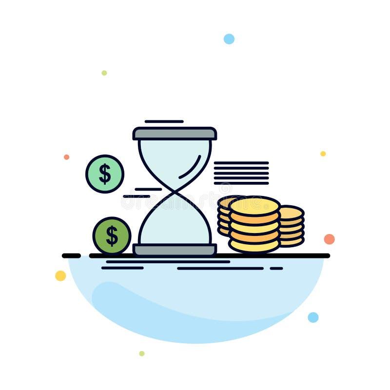 Zandloper, beheer, geld, tijd, het Pictogramvector van de muntstukken Vlakke Kleur vector illustratie