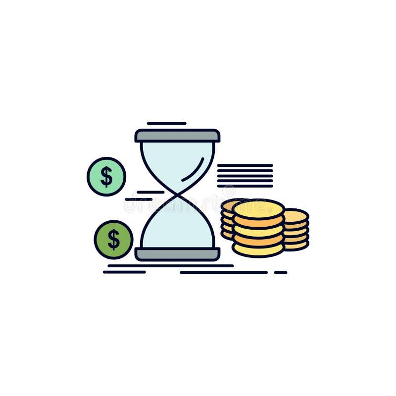 Zandloper, beheer, geld, tijd, het Pictogramvector van de muntstukken Vlakke Kleur royalty-vrije illustratie
