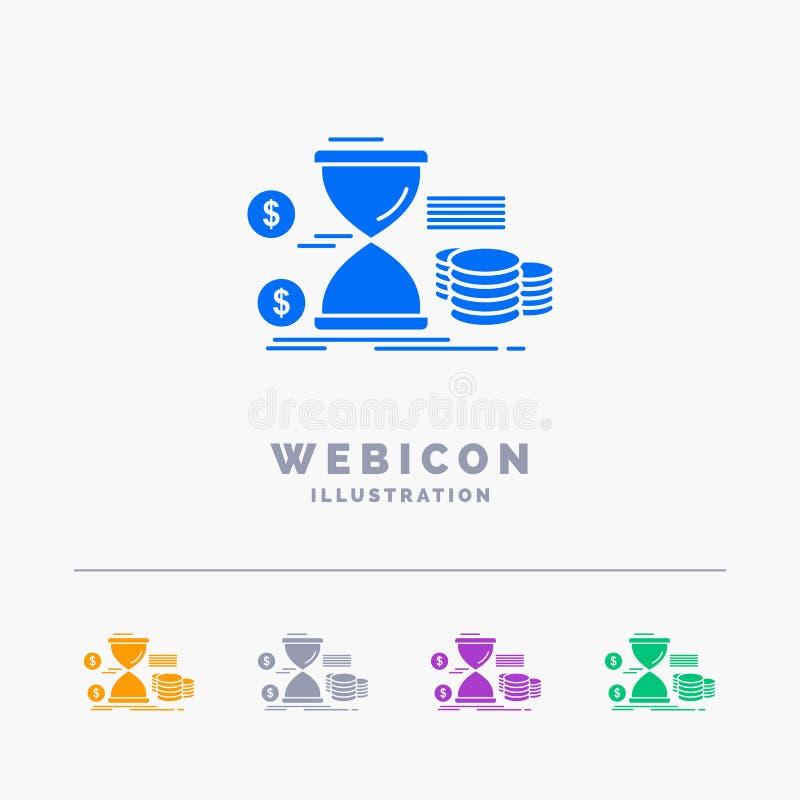 Zandloper, beheer, geld, tijd, muntstukken 5 het Malplaatje van het het Webpictogram van Kleurenglyph op wit wordt geïsoleerd dat vector illustratie