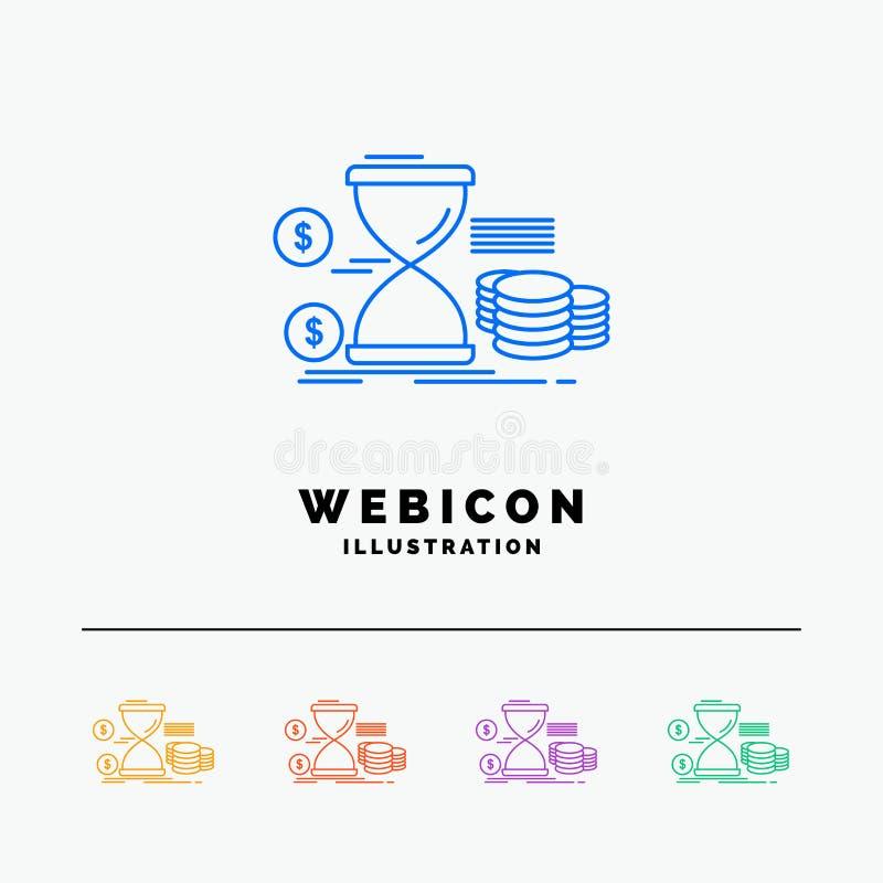 Zandloper, beheer, geld, tijd, muntstukken 5 het Pictogrammalplaatje van het Rassenbarrièreweb op wit wordt geïsoleerd dat Vector vector illustratie