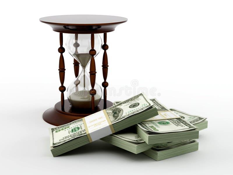 Zandloper en geld vector illustratie