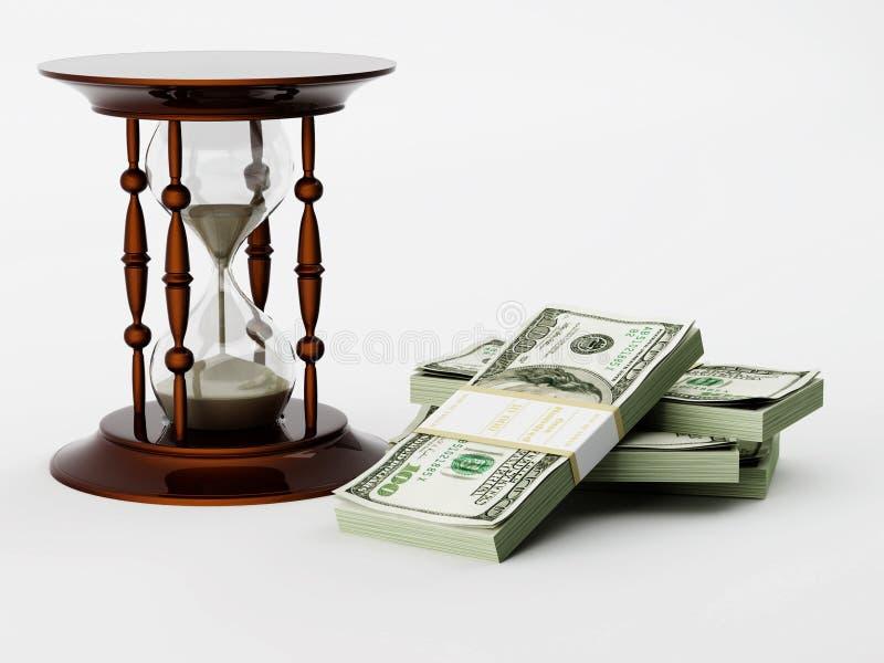 Zandloper en geld stock illustratie