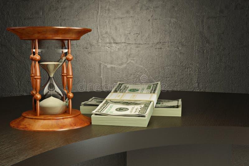 Zandloper en geld op het bureau. vector illustratie