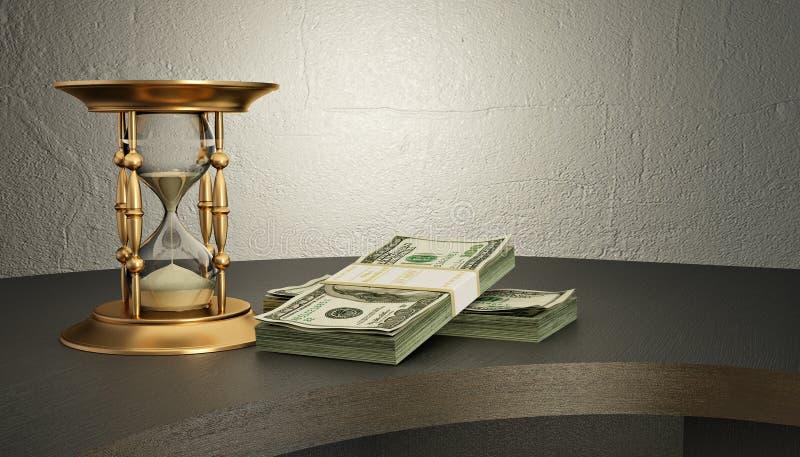 Zandloper en geld op het bureau royalty-vrije illustratie