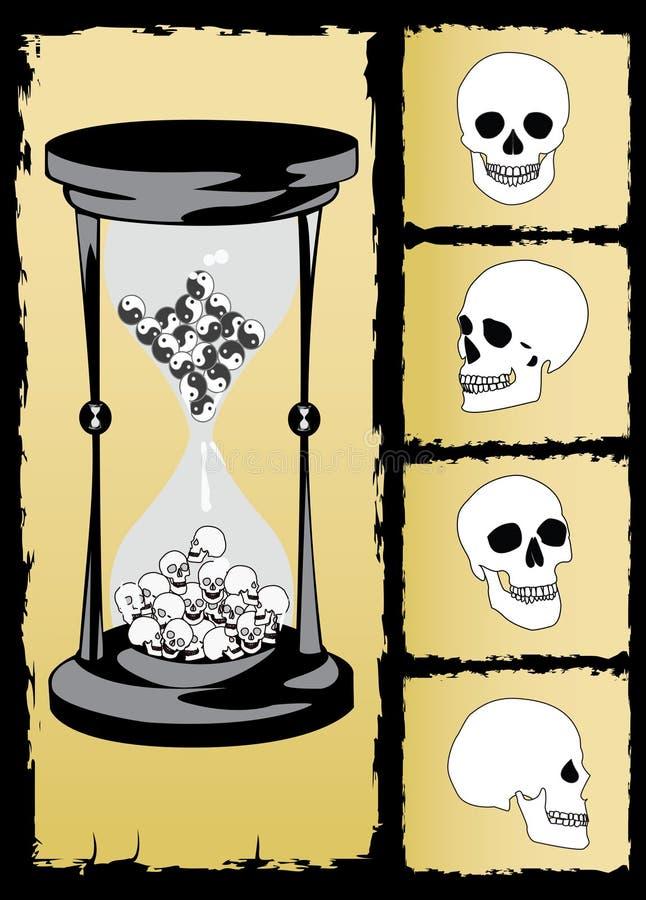zandloper en schedelvector   stock illustratie