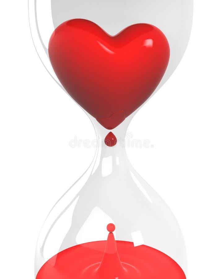 Zandloper met hart en bloedclose-up vector illustratie