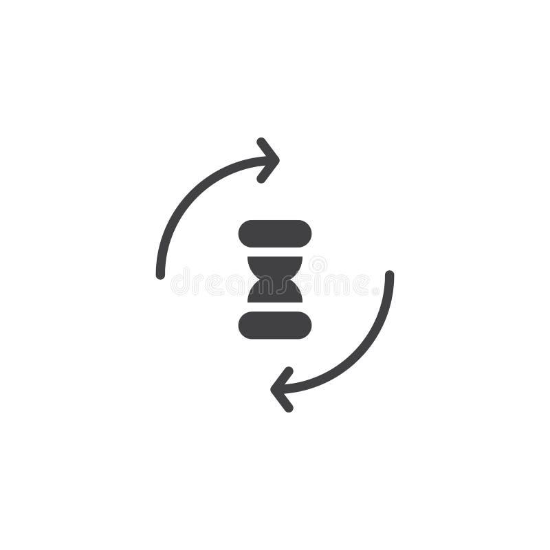 Zandloper met het omcirkelen de vector van het pijlenpictogram vector illustratie