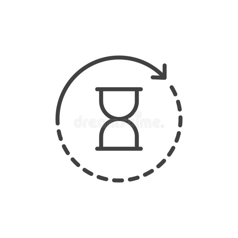Zandloper met het overzichtspictogram van de omwentelingspijl stock illustratie