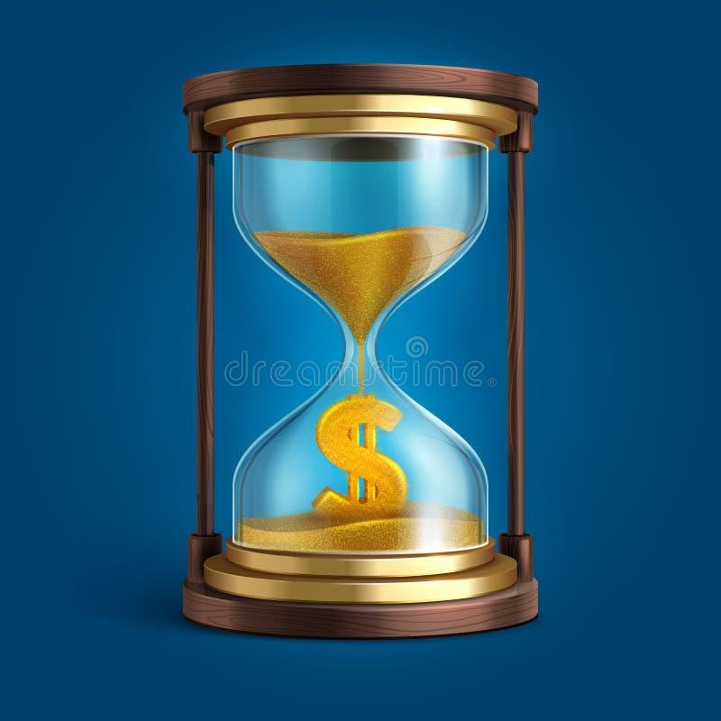 Zandloper met stromend zand en dollarmuntteken De tijd is geld vectorconcept royalty-vrije illustratie