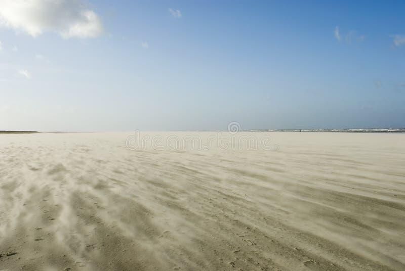 Zandstorm op strand Schiermonnikoog royalty-vrije stock afbeeldingen